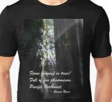 snowy Oregon ferns in trees 3 with haiku Unisex T-Shirt