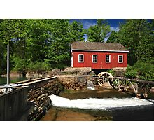 Historical building of Old water sawmill and small dam. Photographic Print