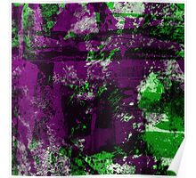 Abstract Study In Green And purple Poster