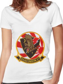 VS-21 Fighting Red Tails Women's Fitted V-Neck T-Shirt