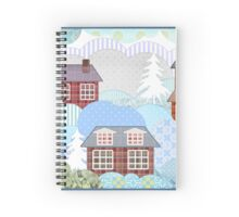 Background retro christmas patchwork design nature winter picture illustration Spiral Notebook