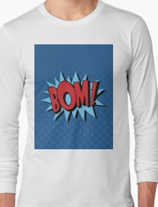 Comics Bubble with Expression Bom in Vintage Style Long Sleeve T-Shirt