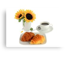 Breakfast – Croissants and Coffee. Metal Print