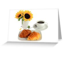 Breakfast – Croissants and Coffee. Greeting Card