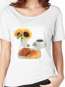 Breakfast – Croissants and Coffee. Women's Relaxed Fit T-Shirt