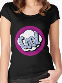 Comics Bubble with Expression Cool in Vintage Style Women's Fitted Scoop T-Shirt