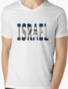 Israel Word With Flag Texture Mens V-Neck T-Shirt