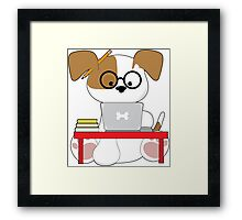 Cute Puppy and Laptop Framed Print