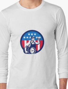 American Builder Beer Keg Flag Circle Retro Long Sleeve T-Shirt