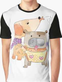 Cartoon Pets  Puppy Friends Graphic T-Shirt