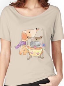 Cartoon Pets  Puppy Friends Women's Relaxed Fit T-Shirt