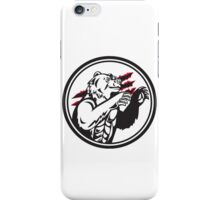 California Grizzly Bear Smirk Paw Circle Retro iPhone Case/Skin