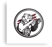 California Grizzly Bear Smirk Paw Circle Retro Metal Print