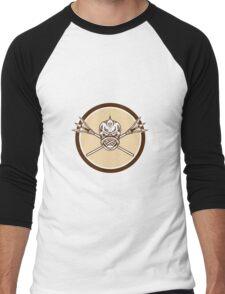 Skull Dolphin Fish Crossed Spears Circle Retro Men's Baseball ¾ T-Shirt