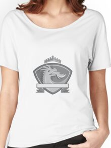 Dragon Breathing Fire Crown Shield Retro Women's Relaxed Fit T-Shirt