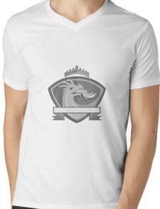 Dragon Breathing Fire Crown Shield Retro Mens V-Neck T-Shirt