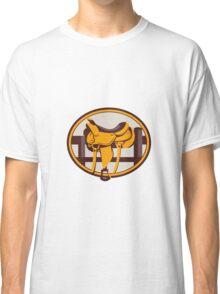 Western Saddle Fence Oval Retro Classic T-Shirt