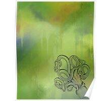 Octopus - Green and Blue Background Poster
