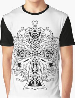 image of cross in celtic style with ribbons of fire Graphic T-Shirt