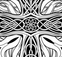 image of cross in celtic style with ribbons of fire Sticker