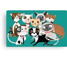 Cartoon Pets So Many Cats Cat Lover Canvas Print