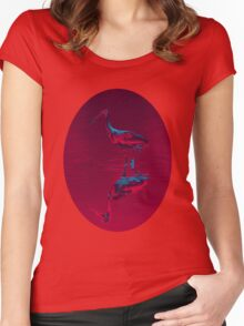 Spoonbill Abstract Decor Women's Fitted Scoop T-Shirt