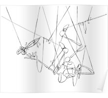 Puppet Hanging Upside Down - Line Art Only Poster