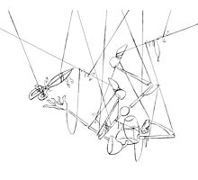 Puppet Hanging Upside Down - Line Art Only Photographic Print