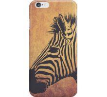 Black zebra in brown background iPhone Case/Skin