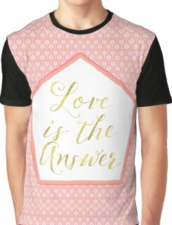Love is the Answer coral, gold sentiment text art Graphic T-Shirt