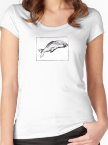 Graphic Sperm Whale Women's Fitted Scoop T-Shirt