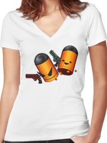 Trigger Twins Women's Fitted V-Neck T-Shirt