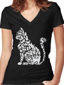 Cat in cats Women's Fitted V-Neck T-Shirt