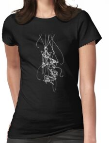 Puppet Descending - White Line Art Only Womens Fitted T-Shirt