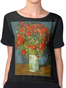 'Red Poppies' by Vincent Van Gogh (Reproduction) Chiffon Top