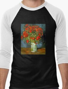 'Red Poppies' by Vincent Van Gogh (Reproduction) Men's Baseball ¾ T-Shirt
