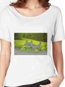 Cat In A Field Of Dandelions Women's Relaxed Fit T-Shirt