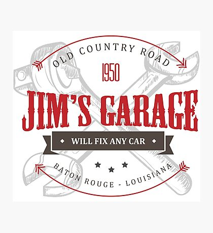 Jim's Garage Photographic Print