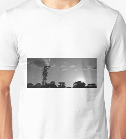 Panoramic Windmill at Sunset Black and White Unisex T-Shirt