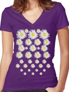 White Flower - daisy like Women's Fitted V-Neck T-Shirt