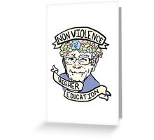 Flower Crown Bernie - Non-Violence and Higher Education Greeting Card