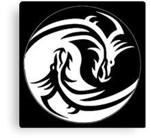 Yin & Yang dragons, black Canvas Print