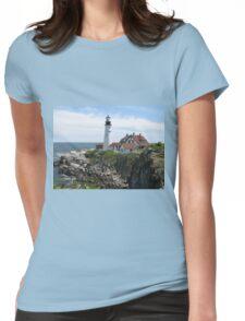 Portland Maine Lighthouse on Coast Womens Fitted T-Shirt