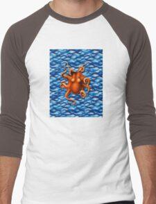 Orange Octopus Men's Baseball ¾ T-Shirt