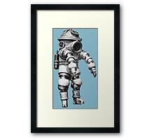 Vintage retro deep sea diver Framed Print