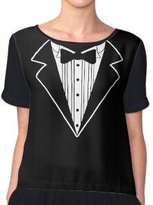 Fake Tux Tuxedo Suit Tie Chiffon Top