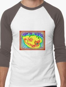 YELLOW ABSTRACT LEAF-LIKE FLOWER Men's Baseball ¾ T-Shirt