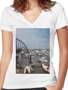 Watchet Harbour Women's Fitted V-Neck T-Shirt