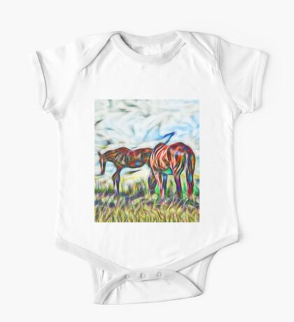 Abstract horses in paddock One Piece - Short Sleeve