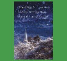 Snowflakes Drifting down haiku, snowy church steeple One Piece - Short Sleeve